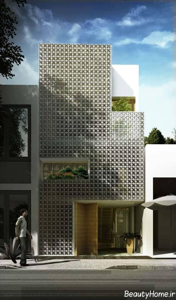 ساختمان با نمای عرض کم