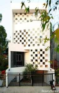نمای ساختمان با طراحی کم عرض