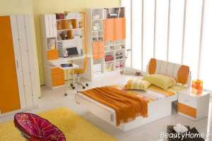 دکوراسیون اتاق پسرانه نارنجی
