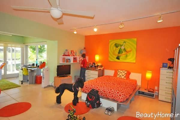 دکوراسیون نارنجی اتاق پسرانه