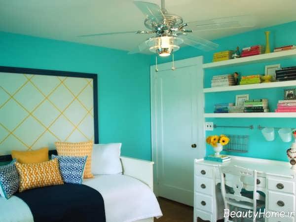 رنگ فیروزه ای برای اتاق پسرانه