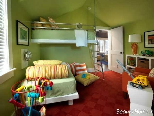 اتاق خواب کودک با رنگ سبز