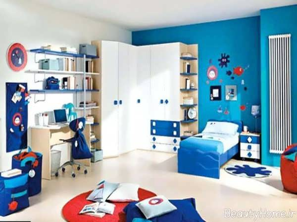 دکوراسیون آبی و سفید اتاق پسرانه
