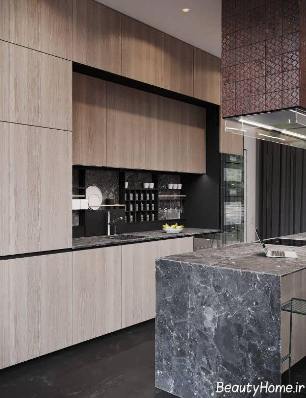 دکوراسیون زیبای آشپزخانه با تم سیاه