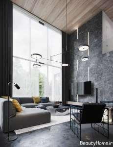 طراحی اتاق پذیرایی با تم تیره