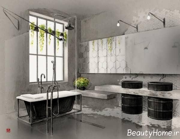 حمام با دیزاین صنعتی