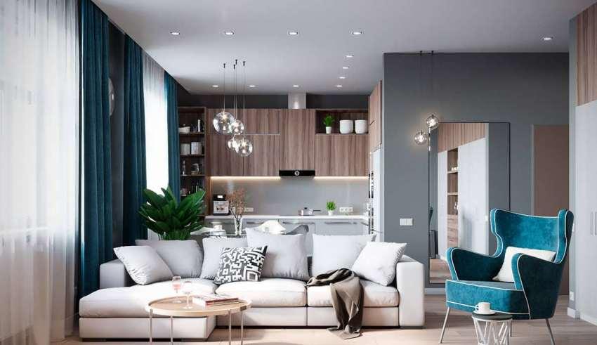 تلفیق رنگ خاکستری و رنگ های گرم در اتاق نشیمن