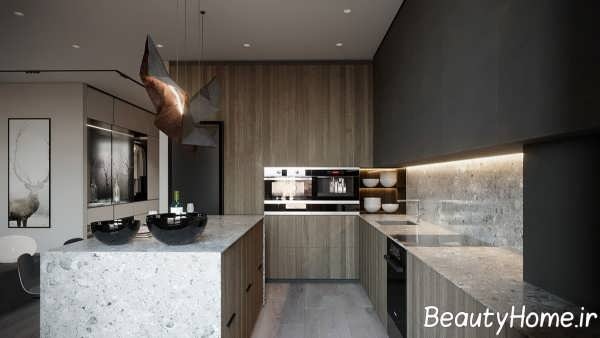 طراحی آشپزخانه با تم خاکستری