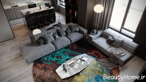 ترکیب خاکستری و رنگ های گرم در اتاق نشیمن