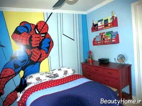 طراحی اتاق پسرانه با طرح مرد عنکبوتی