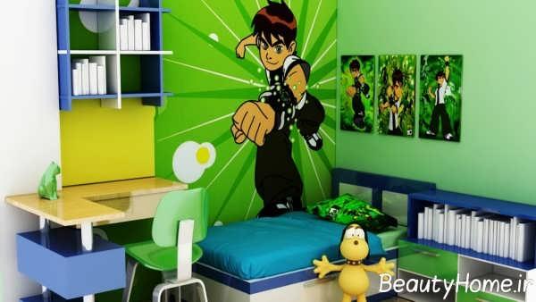 دیزاین زیبای اتاق پسرانه با طرح بنتن