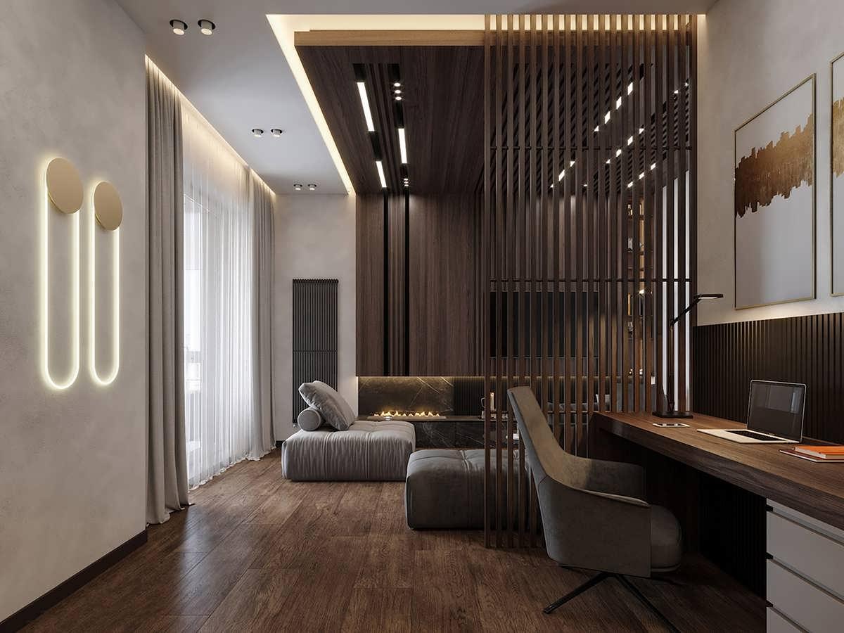 طراحی داخلی لاکچری با دیوارهای چوبی