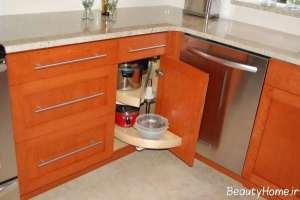مدل کابینت شیک و جدید برای گوشه آشپزخانه