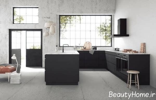 دکوراسیون زیبا و جذاب آشپزخانه یو شکل