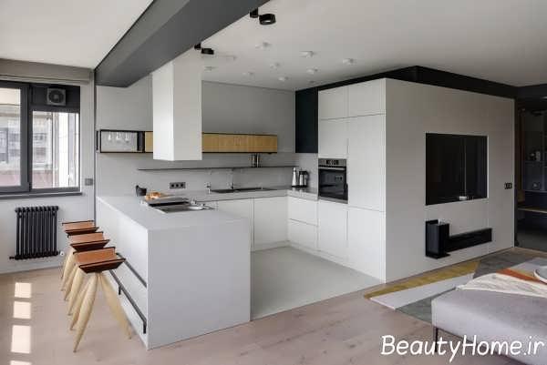 دکوراسیون سفید و شیک آشپزخانه