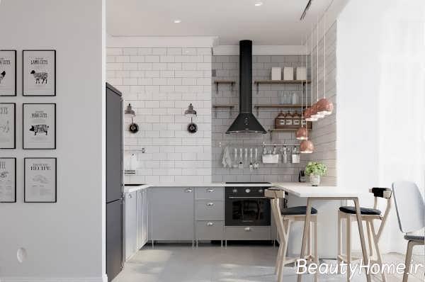 دکوراسیون داخلی آشپزخانه یو شکل