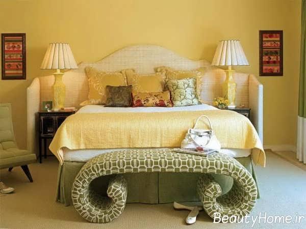 دکوراسیون سلطنتی اتاق خواب با رنگ زرد