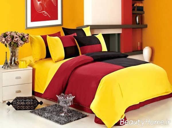 دکوراسیون زرد و قرمز اتاق خواب