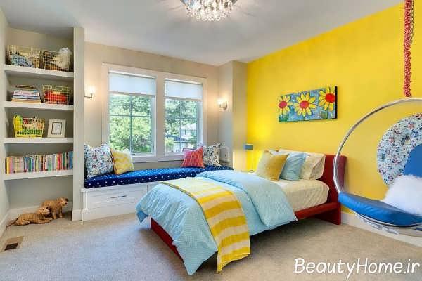 طراحی شیک و زیبا اتاق خواب زرد