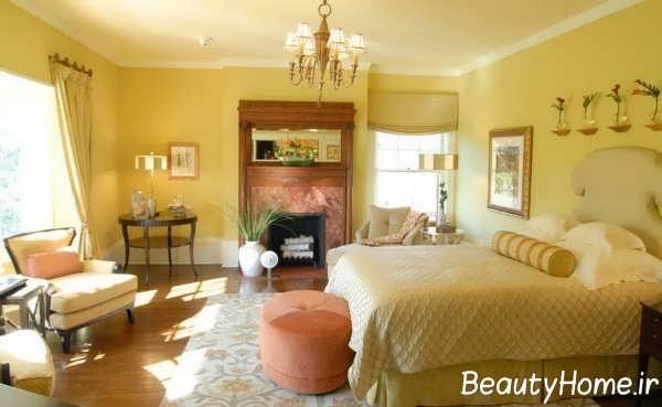 طراحی دکوراسیون اتاق خواب زرد