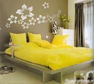 دکوراسیون شیک و زرد اتاق خواب