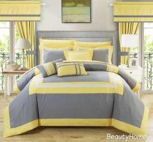 دکوراسیون زرد و خاکستی اتاق خواب