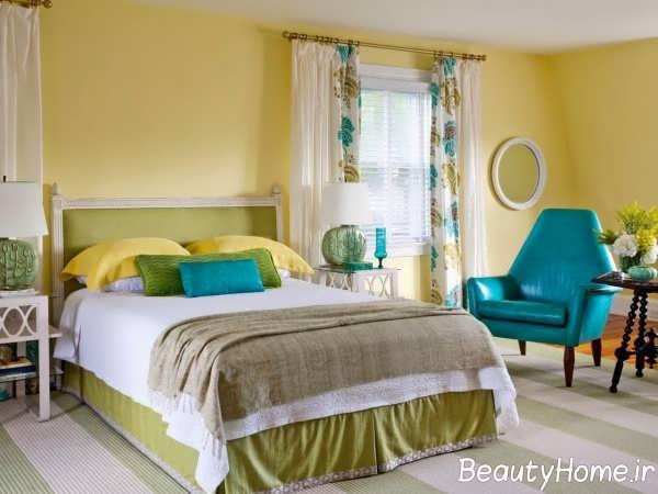 دکوراسیون آبی و زرد اتاق خواب