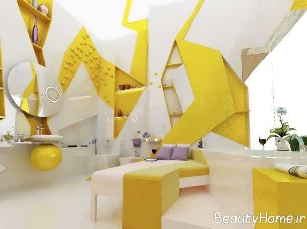 دکوراسیون سفید و زرد اتاق خواب