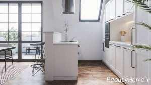 آشپزخانه زیبا با سبک گالی