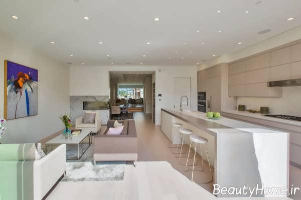آشپزخانه با دیزاین زیبای گالی