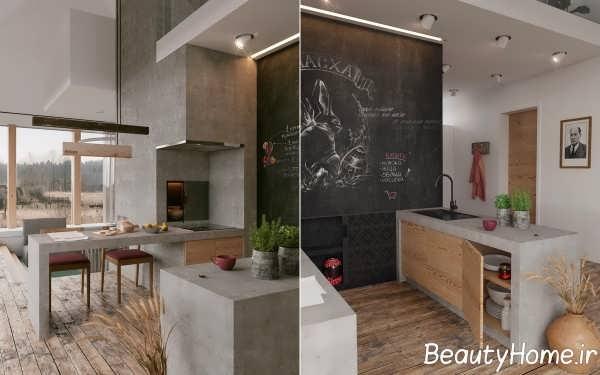 آشپزخانه با دیزاین شیک گالی