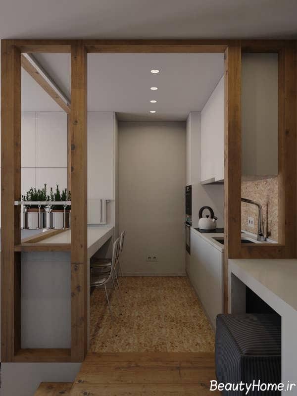 آشپزخانه با دیزاین فوق العاده گالی