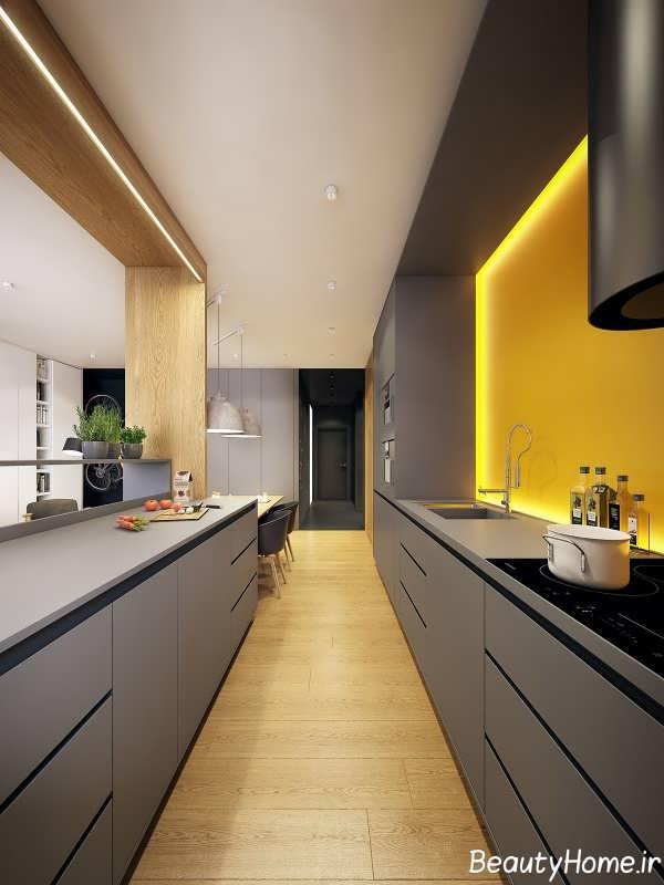 دیزاین متفاوت آشپزخانه با گالی