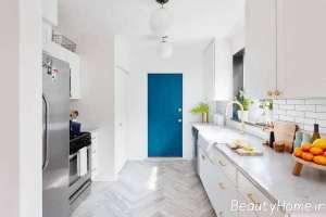 آشپزخانه با تم سفید در سبک گالی