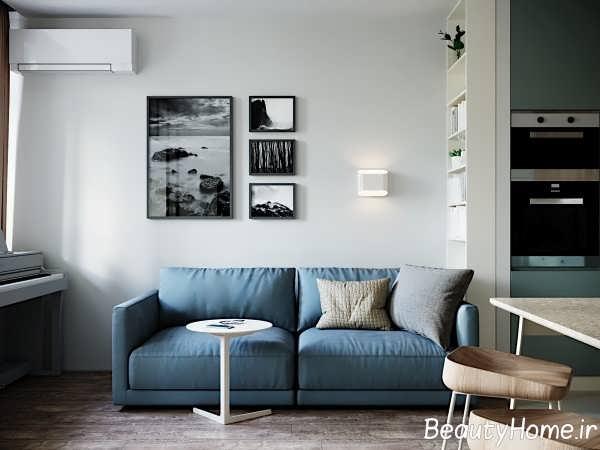 دیزاین مدرن اتاق پذیرایی با تم آبی