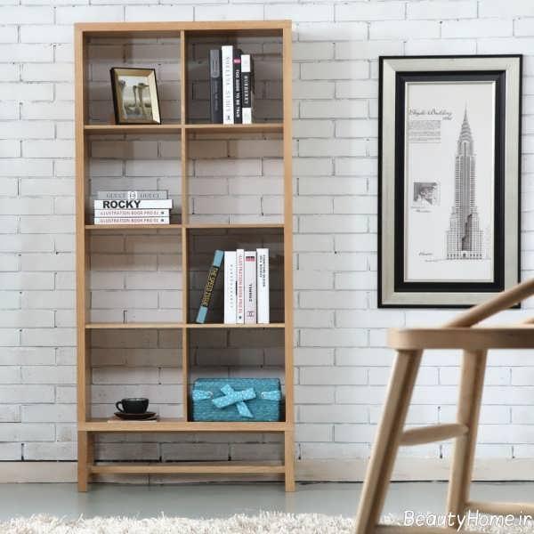 قفسه کتاب شیک و ساده