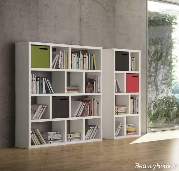 قفسه کتاب سفید و زیبا