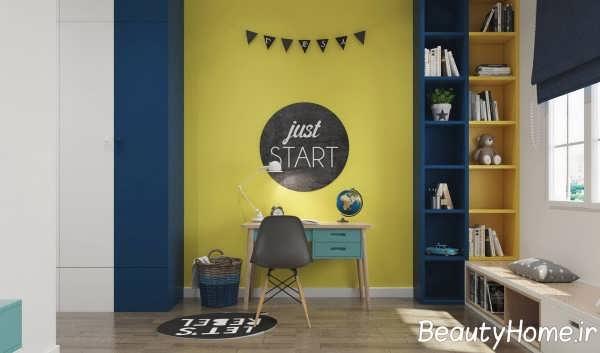 دکوراسیون زرد اتاق مطالعه