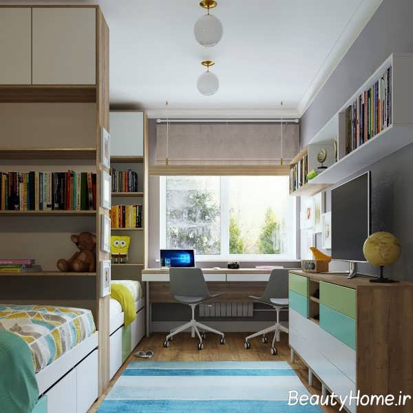 طراحی زیبا و شیک اتاق مطالعه برای کودکان
