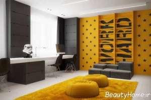 اتاق مطالعه کودک زرد و خاکستری