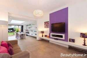 تزیین ساده و زیبا دیوار پشت تلویزیون