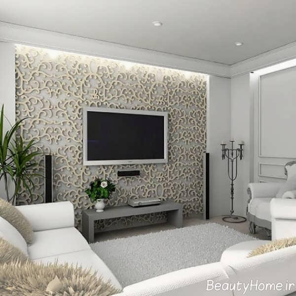 تزیین زیبا و شیک دیوار پشت تلویزیون