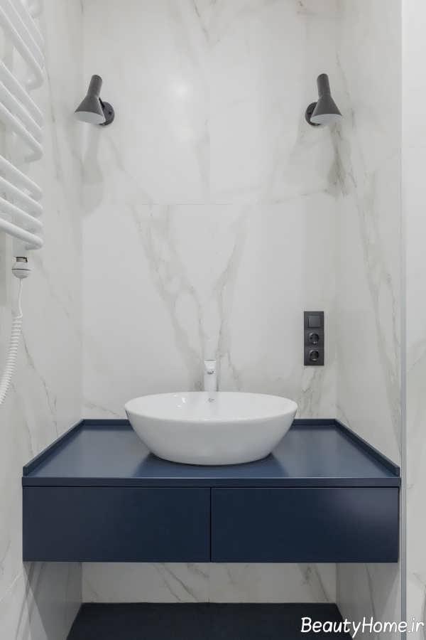 طراحی شیک سرویس بهداشتی با ابعاد هندسی