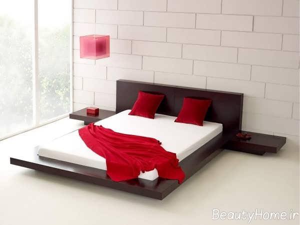طراحی جذاب تخت خواب با تم قهوه ای