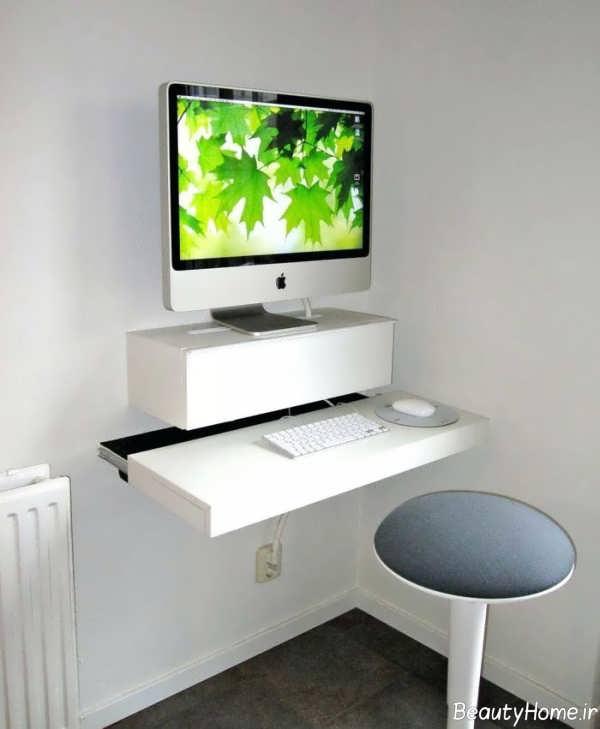 میز کامیپوتر سفید و دیواری