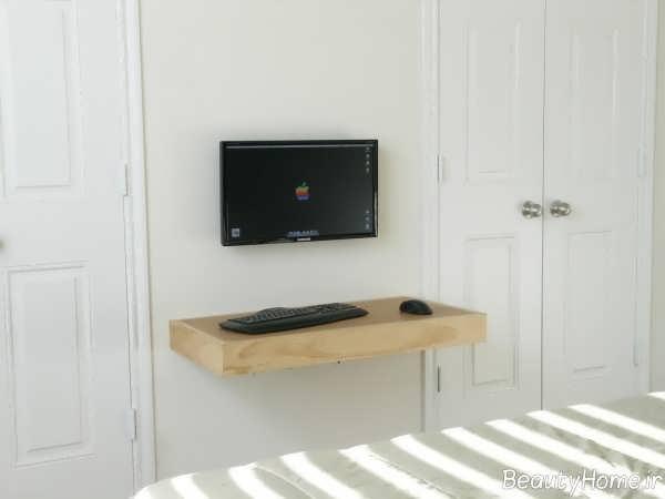میز کامیپوتر شیک و ساده دیواری