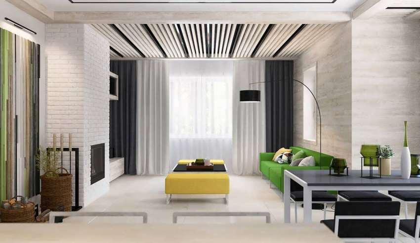 اتاق پذیرایی با تم ترکیبی زرد و سبز