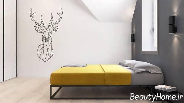 اتاق خواب زیبا با تم زرد