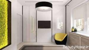 طراحی اتاق با تم سبز و زرد