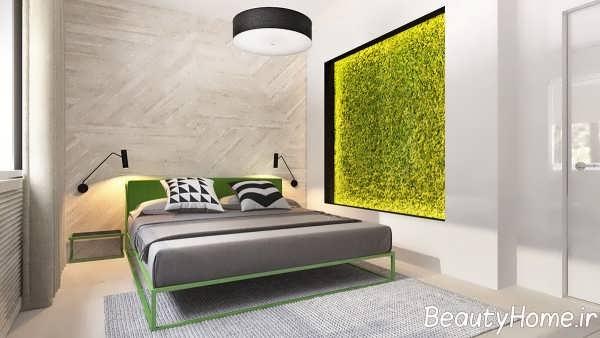 دکوراسیون اتاق خواب با تم سبز و زرد